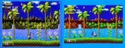 Sonic där originalet är till vänster och den hoptryckta PAL-versionen till höger