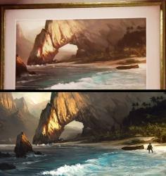 I topp, tavlan från trailern. i botten, konceptbilden från Assassin's Creed 4: Black Flag.
