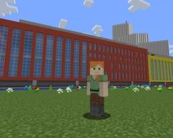 Joystick 8.0 på nybyggda Malmö Live, här tolkat i Minecraft.